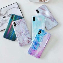 Marble Phone Case for iPhone X XS Max XR Granite Aurora IMD Soft Silicone Cover MAX 6 7 8 Plus Cases Fundas