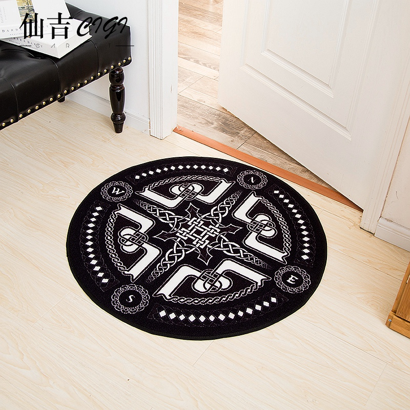 CIGI motif géométrique tapis Style européen moderne couloir tapis de sol rond salon chambre Table canapé tapis antidérapant