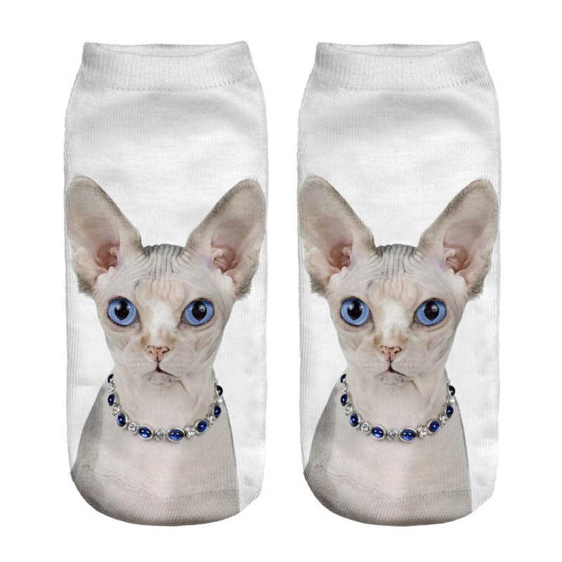 A pair new 3D Socks Kids Children Cotton Socks Funny Sphynx Cat Spring  Summer Low Ankle Short Sock Calcetine Length 19cm