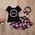 3pcs Baby Set Children Kids Baby Girl Clothes Summer Black Letter Cotton T-shirt+Cute Floral Skirts+Headband Baby Party Set 1-6Y
