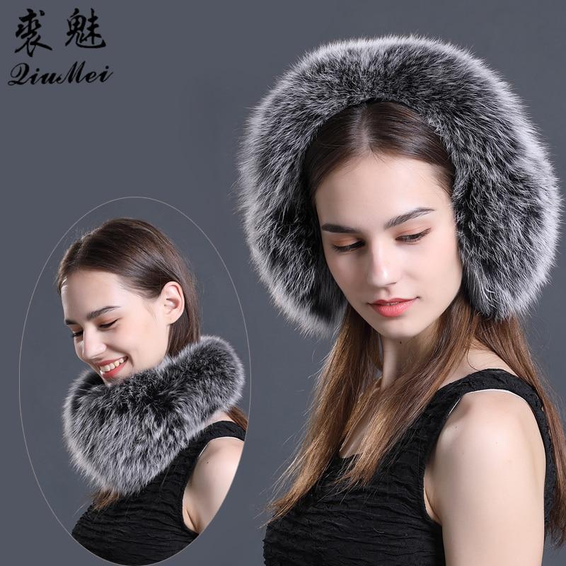 Real Fox Fur Earmuffs For Winter Women Warm Natural Raccoon Fur Earmuffs Girl's Ear Warmer Genuine Fur Scarves Plush Ear Muff