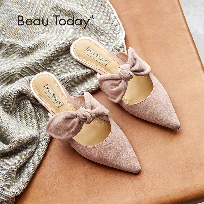 BeauToday Women Mules Kid Suede Genuine Leather Butterfly Knot Pointed Toe Good Quality Female Flat Shoes