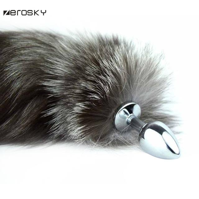 Zerosky Big Anal Plug Fox Tail Stainless Steel Butt Plug Cat Tail Anal Plug Anal Sex Toys For Woman Metal Butt Plug