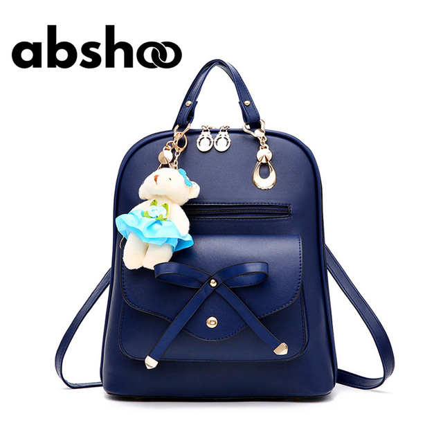 881ed50c7a Cute Women Leather Candy Color Backpacks Girls Bags Chic Style Fashion  Backpacks Fur Bear Decorated Black