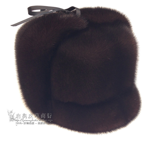 2015 fashion Oversized Adult Men Casual Solid Whole Leather High Mink Hat Old Man Winter Fur Peaked cap Hat Russion Fur Hats