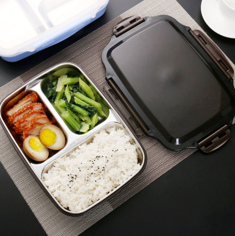 Lunch box Stainless Steel Portable Picnic office School Food Container With Compartments Microwavable Thermal Bento Box