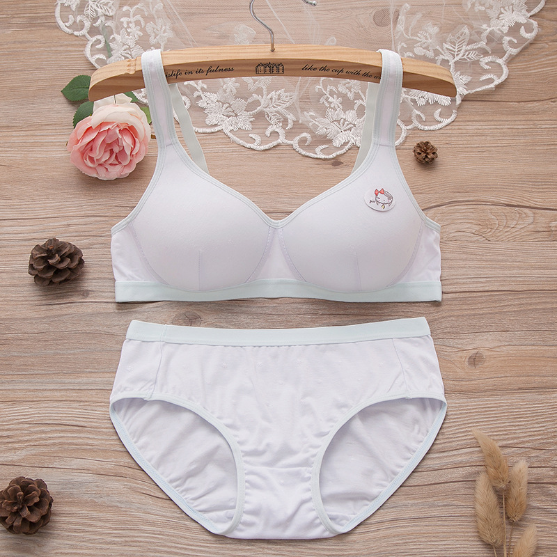 Kawaii Bra Set For Girls Teen Kids First Try On Training Bra+Pantie Sets Young Girl Small Breasts Cotton Print Underwear