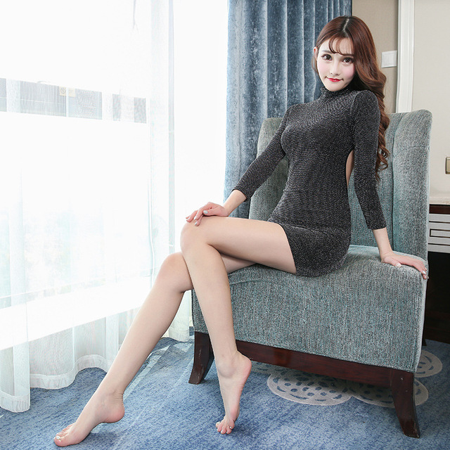 Sexy Frauen Sheer Pailletten Micro Kleid Bodycon Kleid Langen Ärmeln Rollkragen Club Hen Party Backless Schlank Eng anliegende Mini kleid