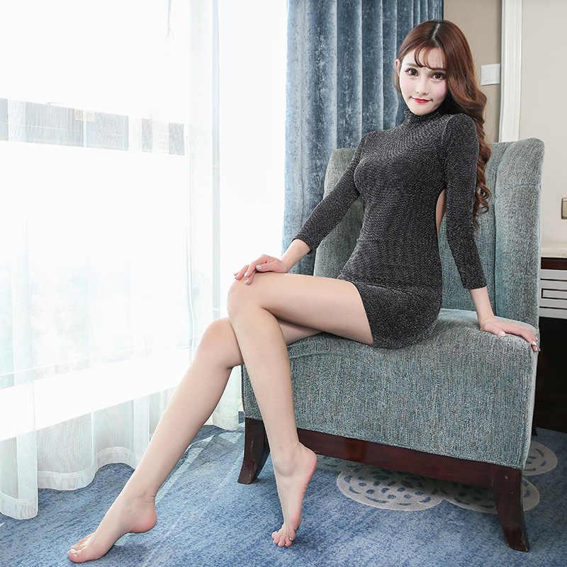 Sexy femmes pure Sequin Micro robe moulante robe manches longues col roulé Club poule partie dos nu Slim moulante Mini robe