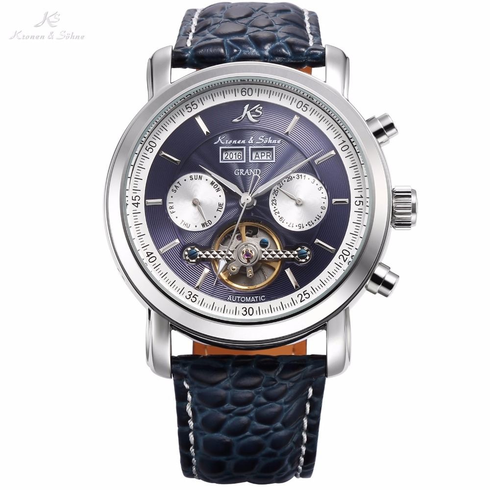 KS Blue Automatic Grand Series Luxury Mechanical Watch Calendar Tourbillon Steel Leather Band Timepiece Men's Clock Gift /KS370 edox grand ocean automatic chronometer