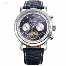 KS Azul Gran Serie de Lujo de Tourbillon de Acero Calendario Reloj Mecánico Automático Banda de Cuero Reloj de Los Hombres Reloj de Regalo/KS370