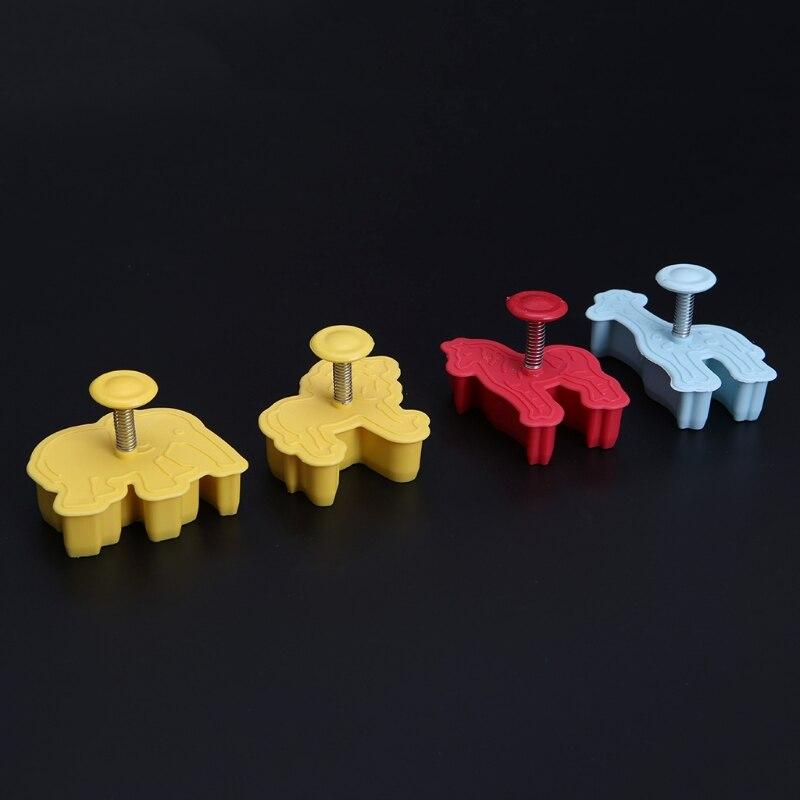 4 шт. 3D животные пластиковые формы для печенья помадка торт резак плесень инструменты для выпечки, сделай сам Mar28