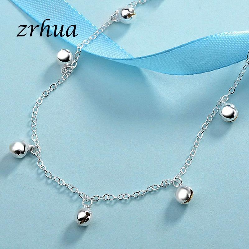 ZRHUA Vintage Fashion 925 Silver Anklets For Women Bohemian Summer Beach Evil Eye Chain Bracelet Foot Jewelry Wholesale Gifts