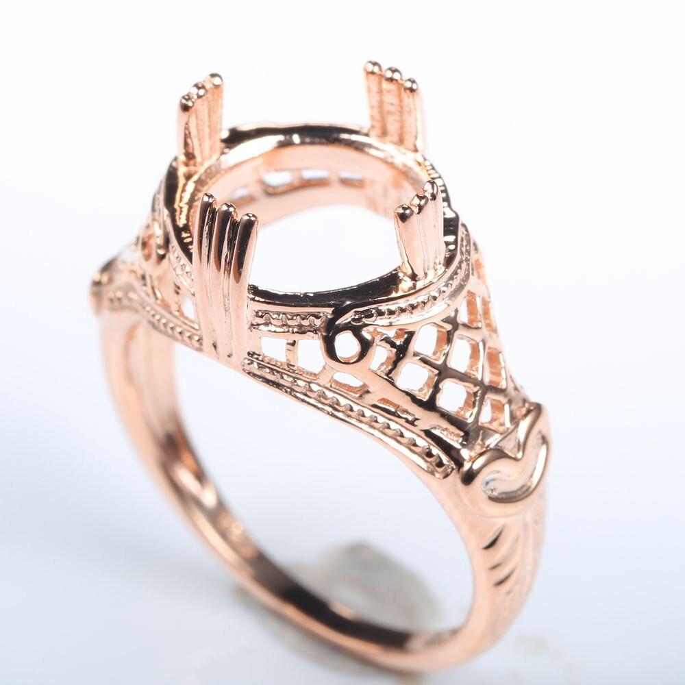 Art Nouveau Vintage Solid 14k Rose Gold 10.5mm Round Semi Mount Women Engagement Wedding Ring jean lahor art nouveau