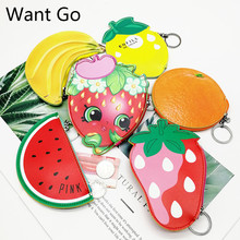 купить Want Go Sweet Cartoons Fruit Women Coin Purse Casual Pu Leather Small Purse Bag Zipper Mini Wallet Pouch Portable Storage Bag по цене 145.89 рублей