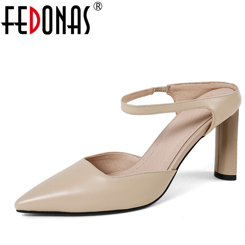 FEDONAS Sexy Pointed Toe Women Genuine Leather Pumps Close Toe Summer Shoes Mules High Heeled Sandals Sexy Women Slippers korean woman high heel pointed toe solid mujer pumps shallow mouth square heels womens shoes work office lady all match tacones