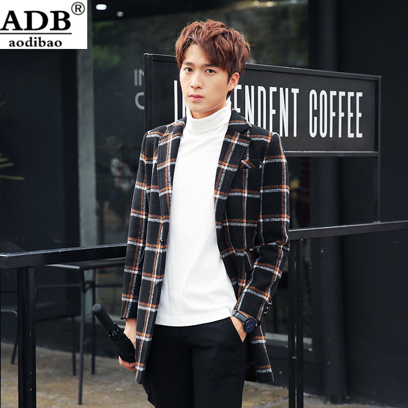 Aodibao 2016 North Facce Winter Coat Men Italy Design Slim Fit Warm Turn-down Collar Single Breasted Plaid Cotton Caual Suit Men