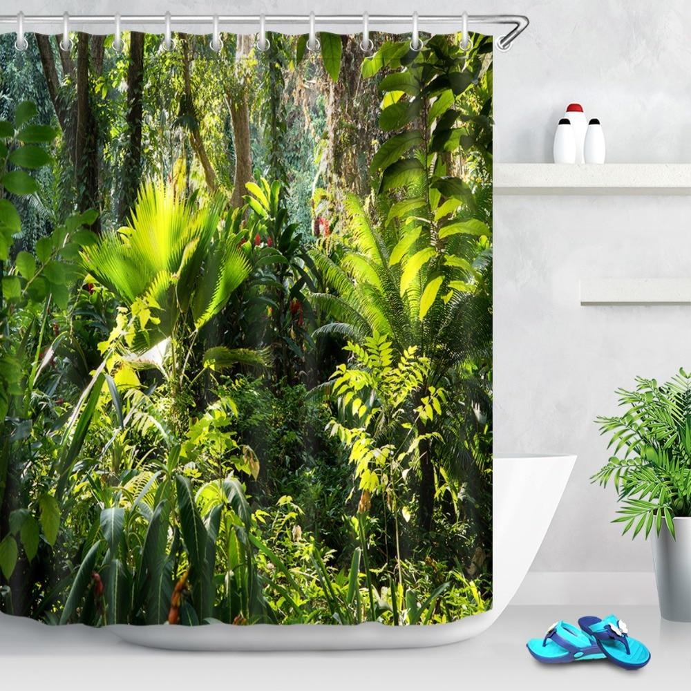 72'' Tropical Jungle Fragrant Foliage Green Shower Curtains Palms Tree Bathroom Curtain Fabric Polyester for Bathtub Decor(China)