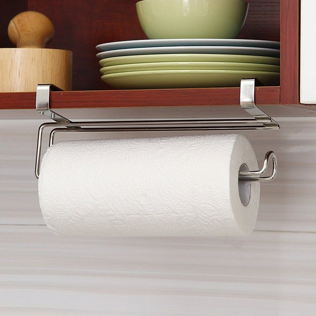 1Pcs Simple Stainless Steel Under Roll Paper Towel Holder Door Shelf  Hanging Support For Bathroom Kitchen
