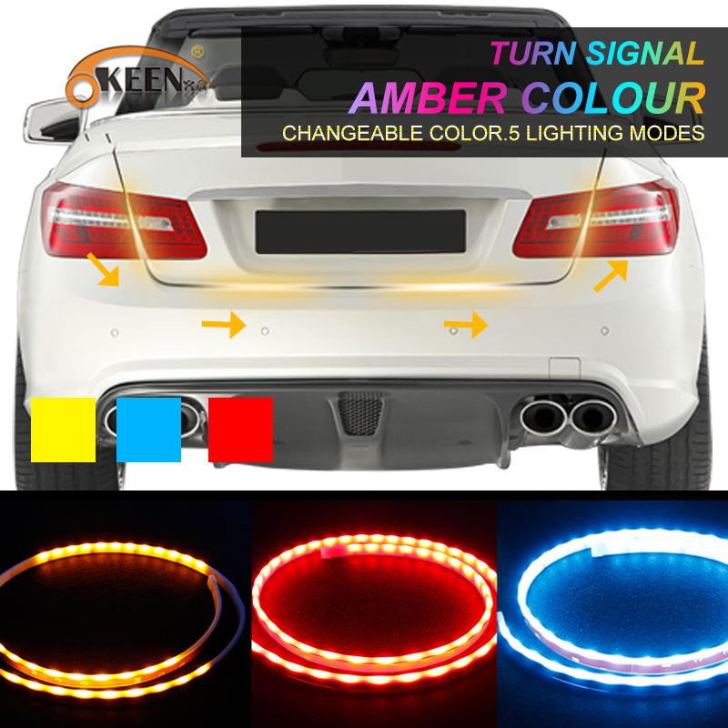 OKEEN Car Styling Amber Red Blue Led Trunk Strip