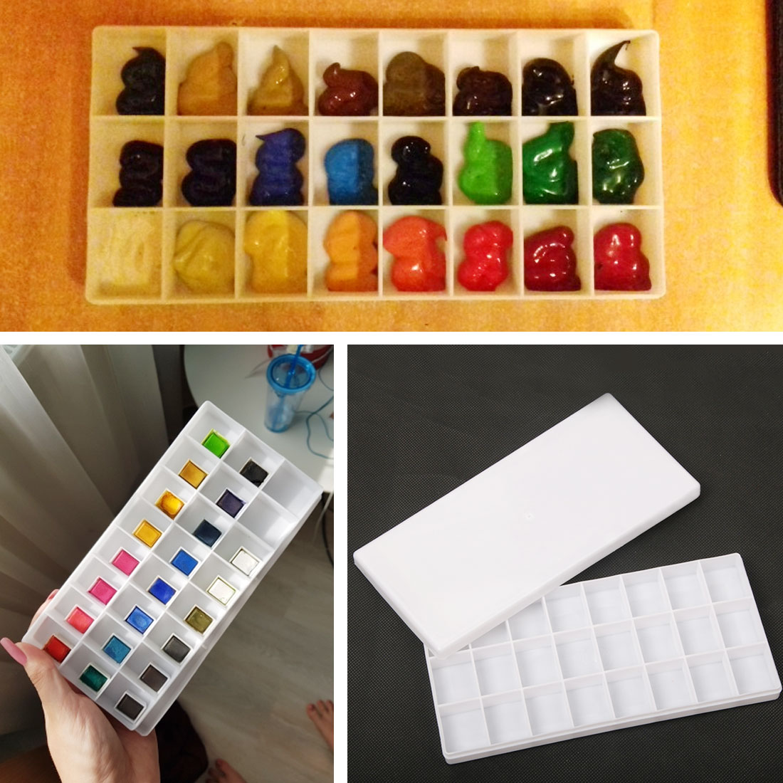 24 Grid color <font><b>Art</b></font> Palette Double Tray <font><b>Box</b></font> Drawing Painting Watercolor oil paint Pigment Glue Mixing Case Palettes <font><b>Tools</b></font> image
