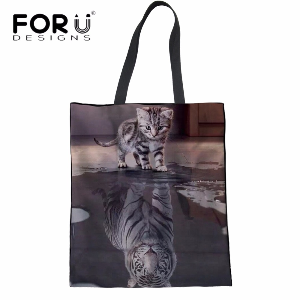 FORUDESIGNS Cat Reflection Tiger Print Woman Folding Shopper Bags Fashion Large Female Cotton Shopping Tote Bags Recycle Eco Bag