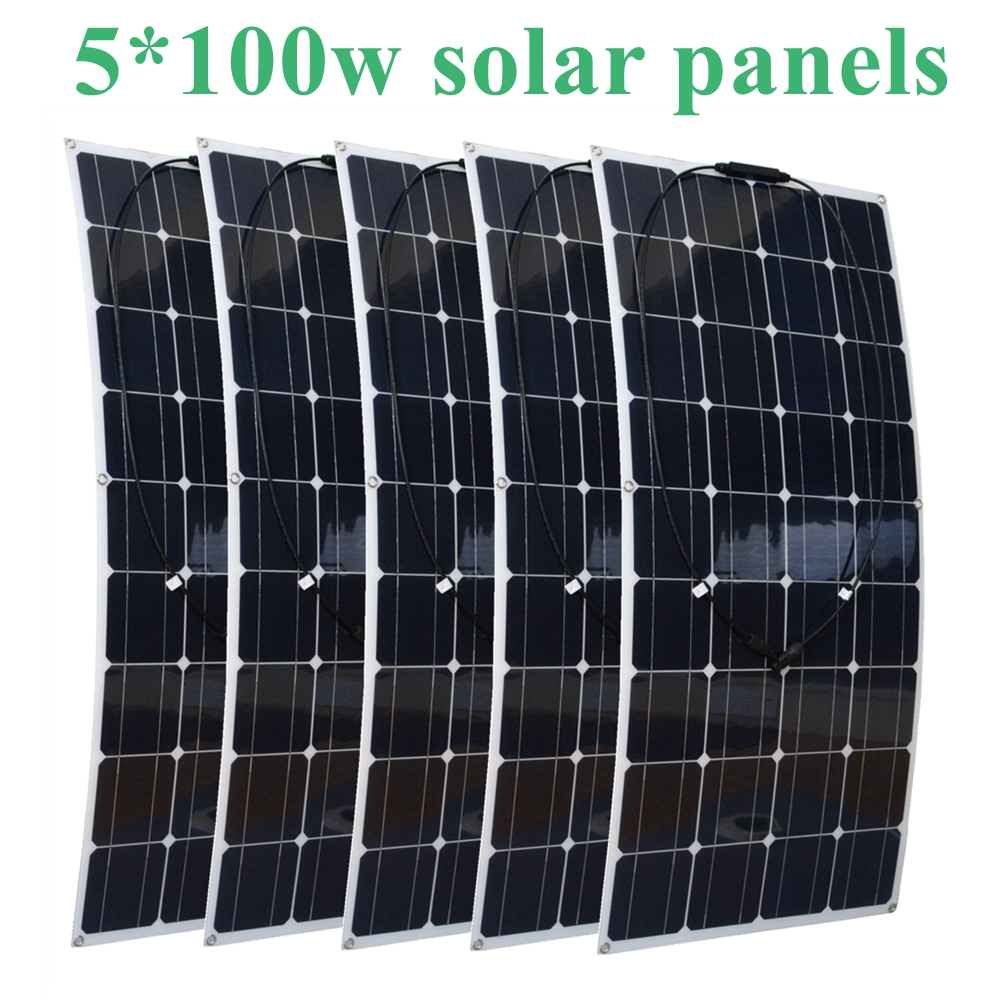 500W Flexible Solar Panel 5x 100w Solar Module Mono Cell Boat Car House RV Charger Houseuse 500W Solar System 50w 12v semi flexible monocrystalline silicon solar panel solar battery power generater for battery rv car boat aircraft tourism
