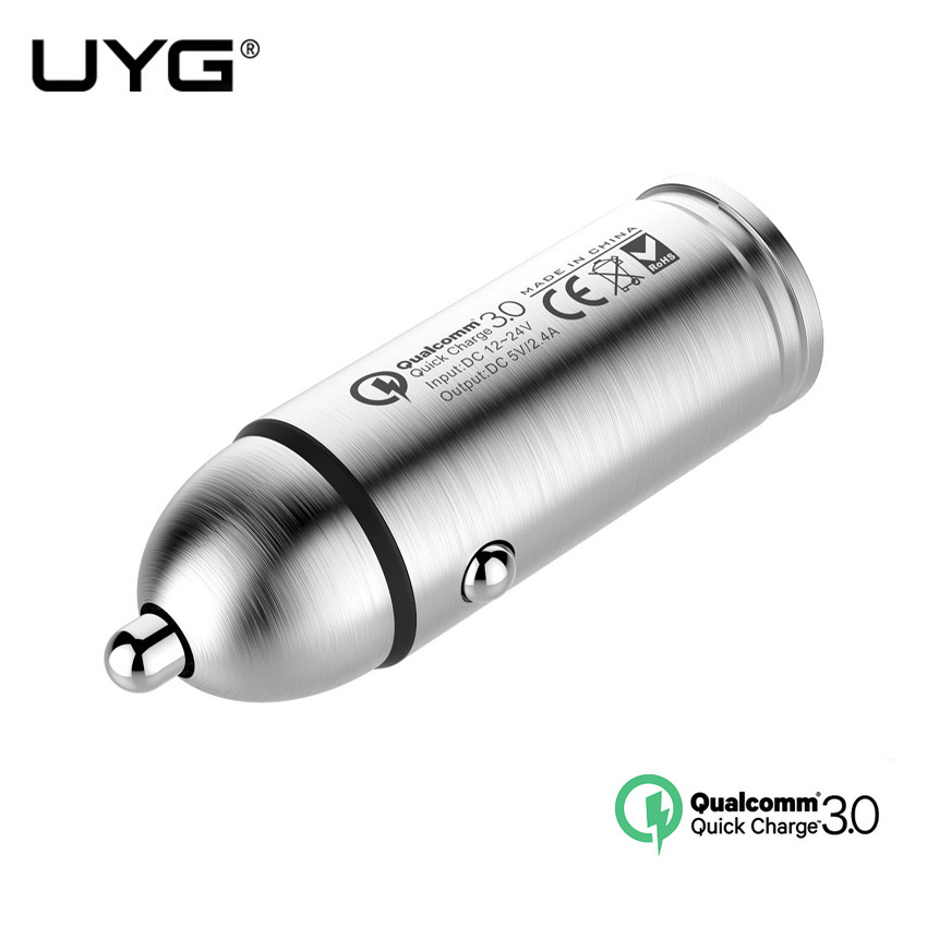 UYG universal QC 3.0 car charger with USB Cable Mini USB quick Charger for samsung LG tablet PC vehicle traveling recorder
