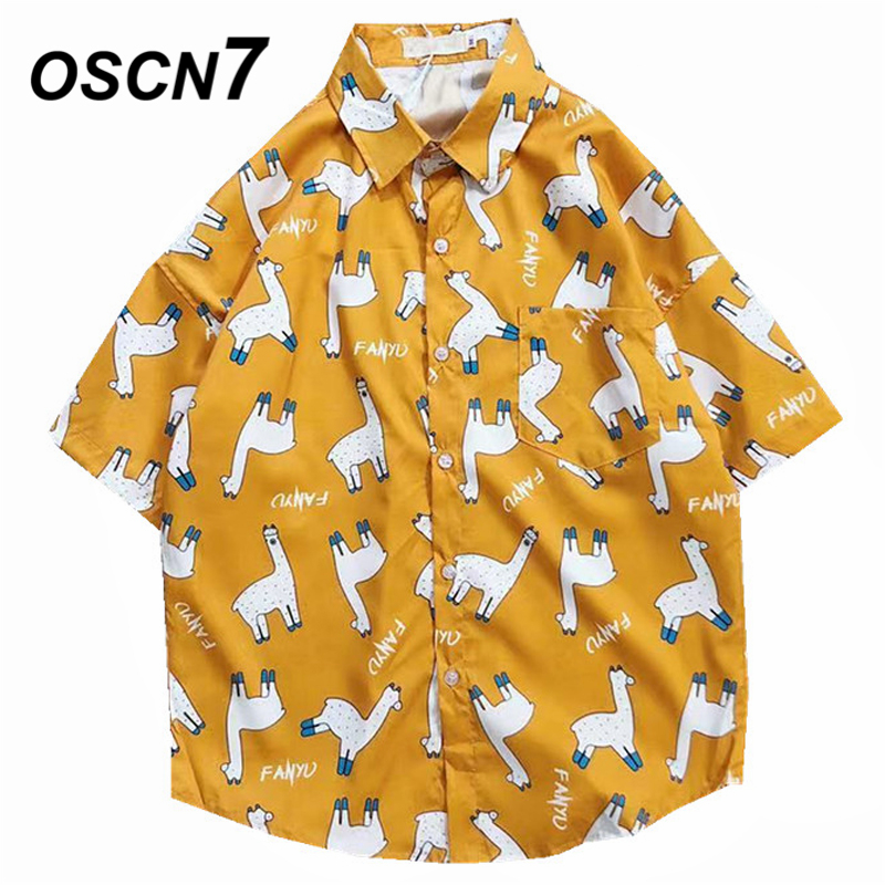 OSCN7 2019 Casual Printed Short Sleeve Shirt Men Street 2019 Hawaii Beach Women Fashion Short Sleeve Shirts Harujuku Mens 3013