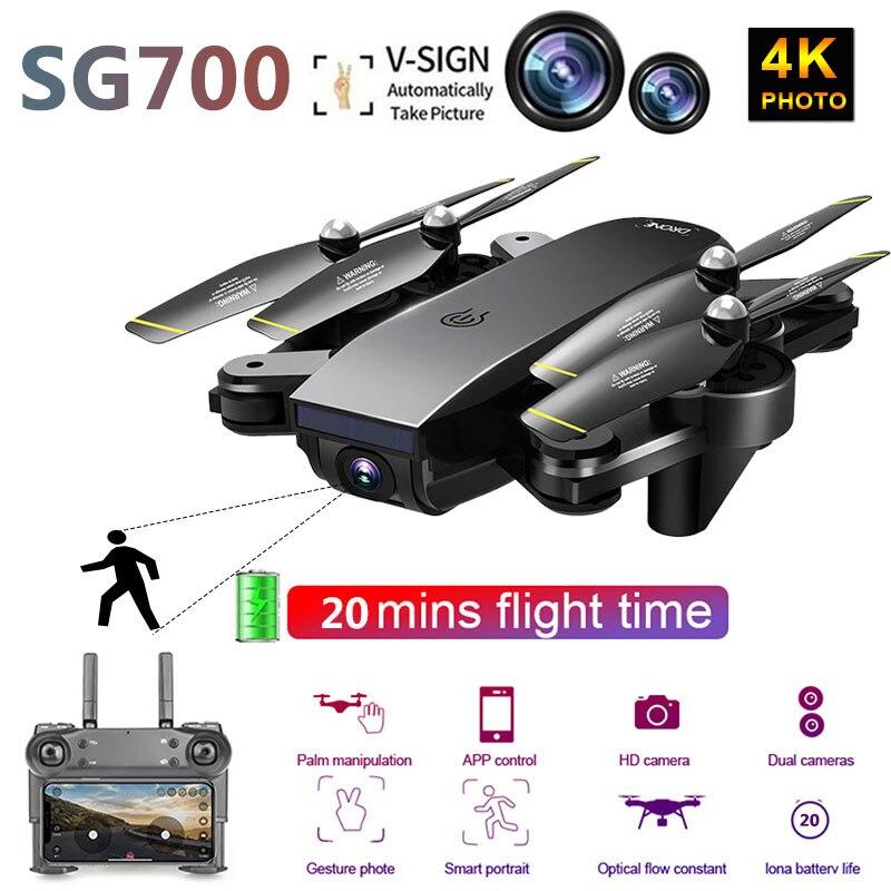 SG700 mis à niveau pliable Drones RC WIFI FPV 4 K double caméra Drone suivre Mode APP contrôle quadrirotor pour cadeau jouet Drone Drone 4 K