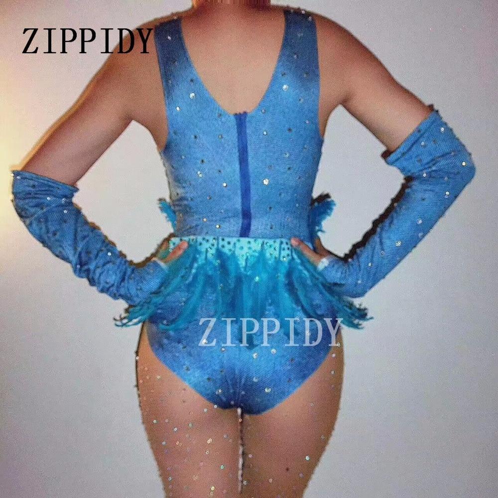 Bleu Strass Plume Sexy Body Discothèque Gogo Danse Dj Chanteur Gants  Justaucorps Tenue D exécution D étape Costume Usage D étape dans  Combinaisons de Mode ... 2b35f7e56ad