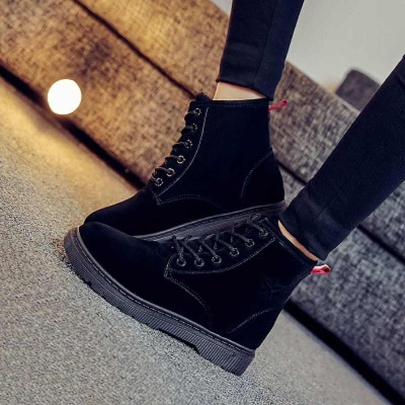 Новинка 2018 г. новые зимние сапоги ботинки мартенс утолщение теплая бархатная