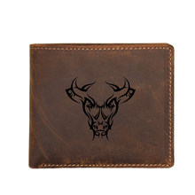 Engraved Picture Tribal Tattoo Bull Head Wallet Men Function RFID Blocking Card Wallet Mini Coin Pocket Purses Multi Card Holder(China)