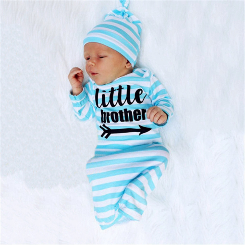 New 2PCS English Letter Striped Long Sleeve Sleeping coth+Hair Accessory Air Conditioning Kick Preventing Quilt Babys Sets