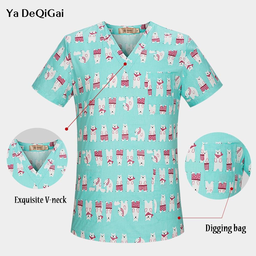 Hospital Nurse Scrub Tops Women Scrub Clothes Breathable Cartoon Printing Surgical Medical Uniforms Wholesale Surgery Cap Mask