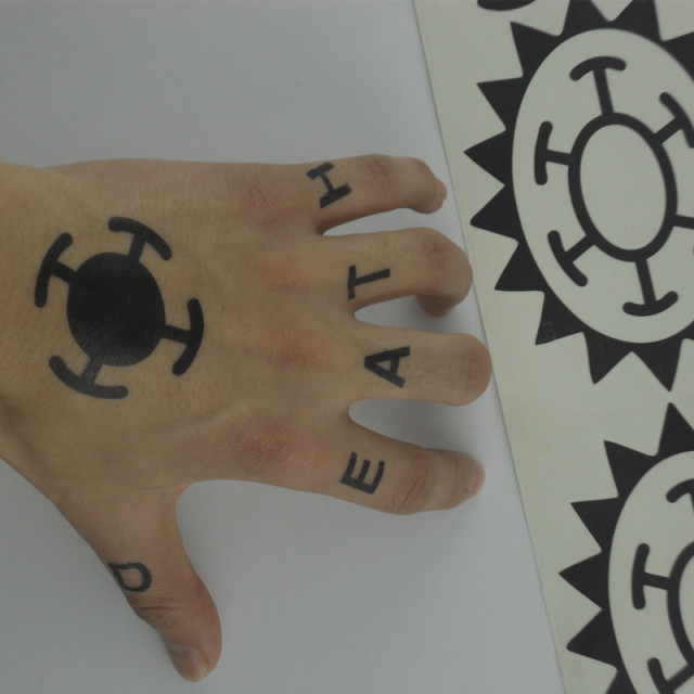 Hot anime one piece sticker trafalgar law cosplay tattoo for One piece law tattoos