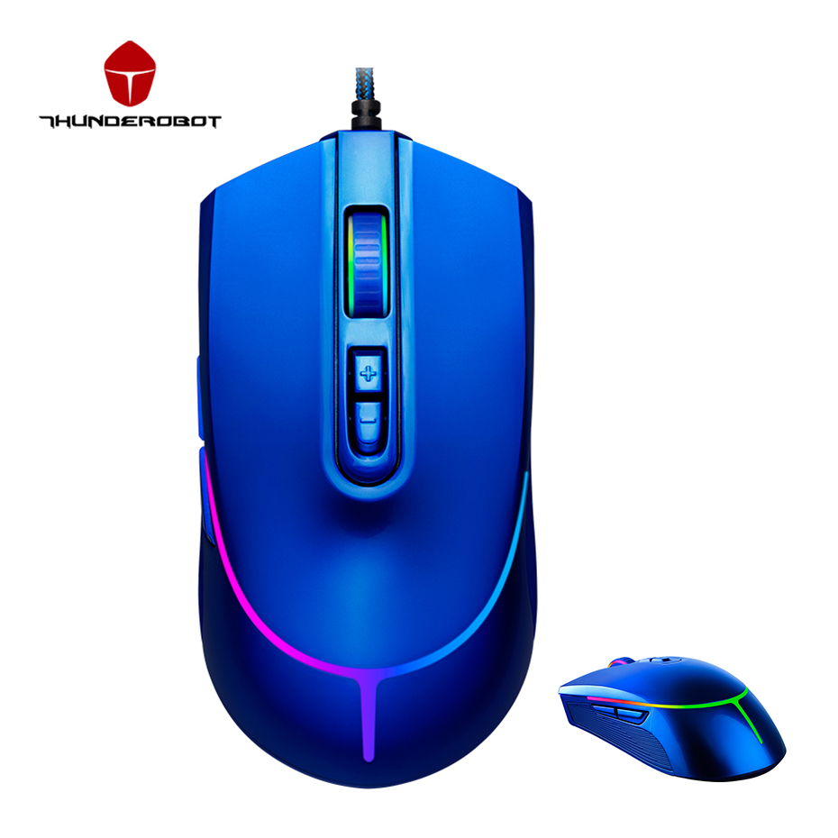 Thunderobot Hunter Mouse 12000DPI Gaming Mouse 7 Buttons USB Wired Mice LED Optical Computer Mouse Gamer Mice For PC Laptop mosunx e5 mecall promotion 2400dpi led optical 6d usb wired gaming game mouse pro gamer computer mice for pc whoelsale