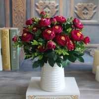 Fleurs artificielles soie pivoine fleur fleur faux vif 6 Branches automne pas cher fleurs artificielles mariage maison fête décoration