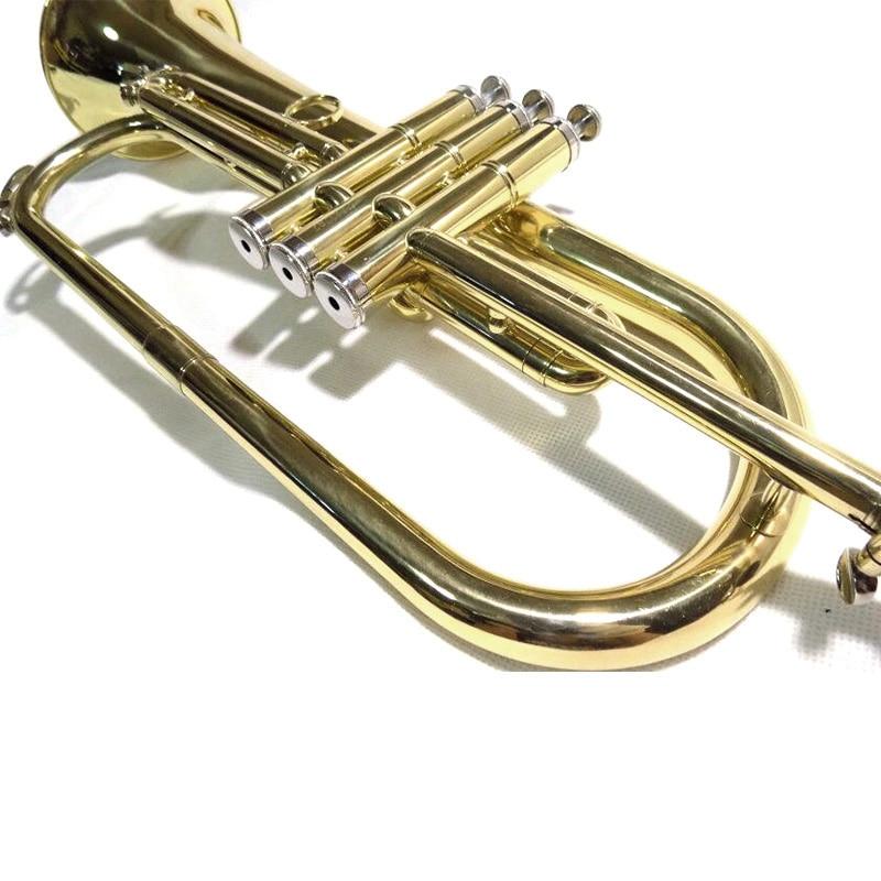 Bb flugelhorn желтый латунный Flugel Horn с деревянный ящик, профессиональные музыкальные инструменты