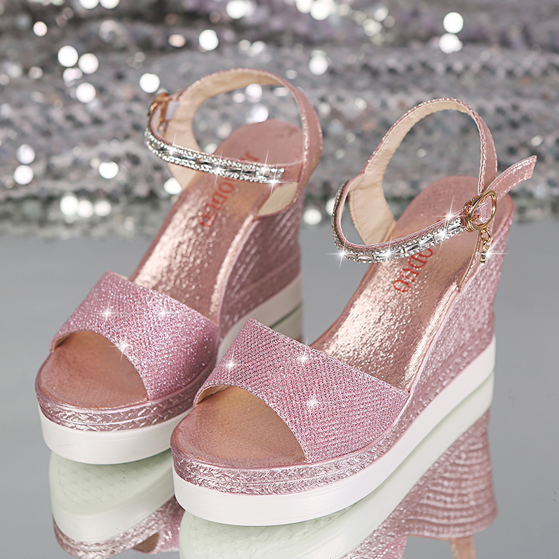 Verano Pureza Glitter 10 Cm Sandalias De Mujer Zapatos 2019 Tacón Cuña Alto Aumento FKJT1cl