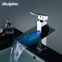 Ванная комната бассейна светодио дный кран воды Powered светодио дный Водопад кран 3 цвета изменены Температура воды бассейна раковина смесите