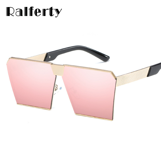 1c9a01dbb9 Ralferty Oversized Square Sunglasses Women Pink Mirrored Sunglass Big Gold  Metal Sun Glasses For Women UV400
