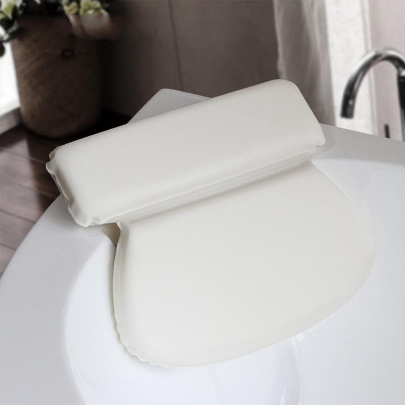 PU Round Soft Bathtub Pillow Thick Luxury Spa Bath Pillow Super Grip ...