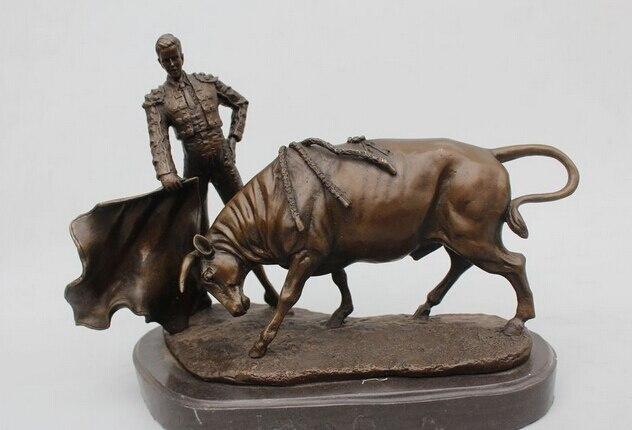 12Western Art sculptur Pure Bronze Marble Famous Spain Matador Bull Statue Copper garden decoration
