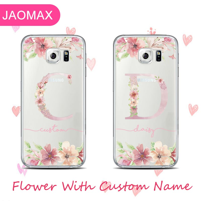 super popular 97895 988b9 Custom Name Flower Design Floral Soft Silicone Samsung Galaxy S8 S9 S7 Edge  A5 A8 Cute Customized Phone Case