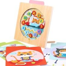 Время познавательная интеллектуальная игрушка для ребенка от 3 до 6 лет цифровые деревянные часы малыш раннего образования Когнитивная детская игра