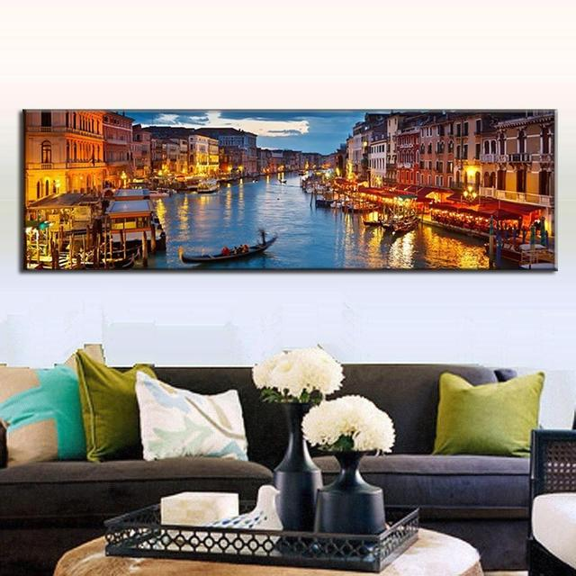 US $29.99 40% OFF Super Große Einzelstück Landschaft Leinwand Malerei für  Wohnzimmer ModernThe Nacht Von Wasserstadt Venedig Wand Kunst Hotel Decor  in ...