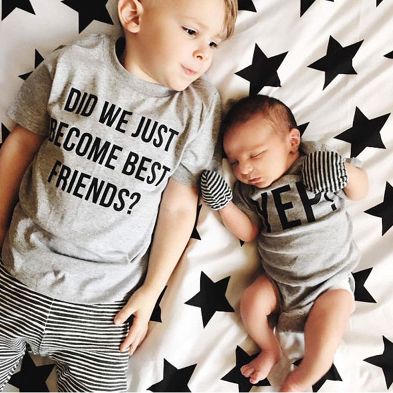 Helpful Summer Family Brother Matching Outfits Kid Boys T-shirt Baby Bodysuits Infant Jumpsuit Clothes Letter Print Tee Top Clothing D78 Mother & Kids