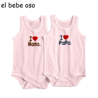 2017 New Summer Style Baby Rompers Sleeveless Cotton 2PCS LOT O Neck Letter Newborn Boys Girls