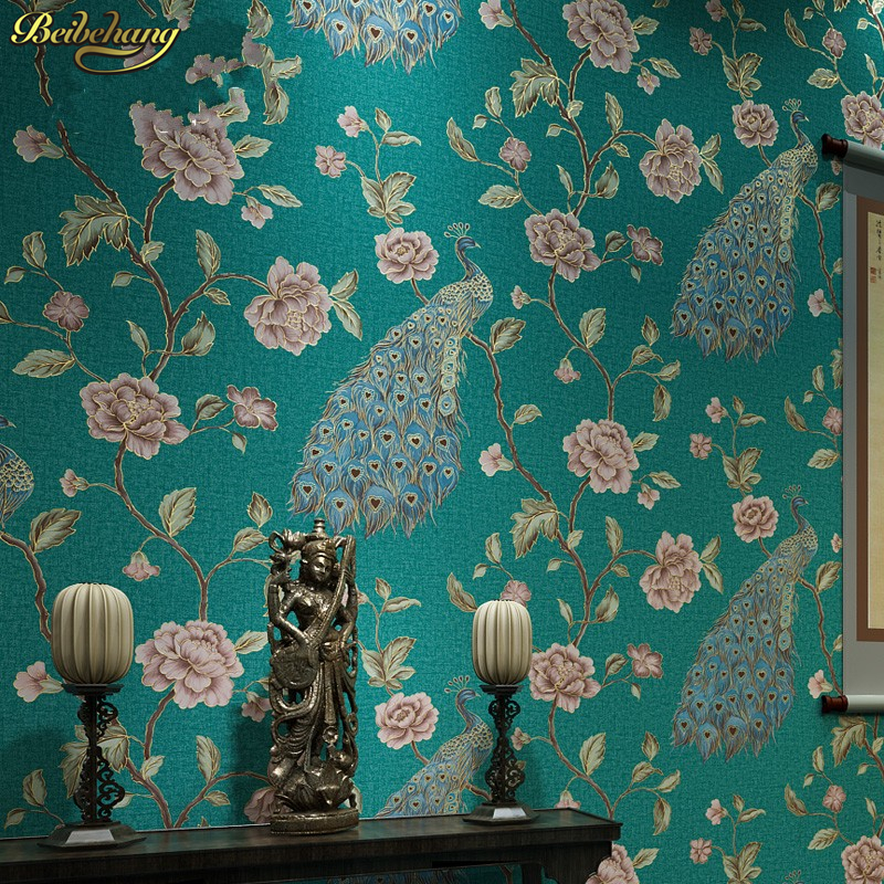 beibehang papel de parede Southeast luxury peacock embroidery simulation Figure mosaic wallpaper bedroom living room with AB beibehang papel de parede southeast